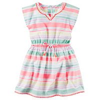 Toddler Girl Carter's Pom-Pom Trim Striped Woven Dress