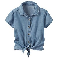 Toddler Girl Carter's Chambray Button-Down & Tie Front Top