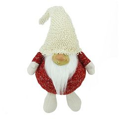 Textured Plush Smiling Gnome Christmas Table Decor