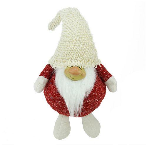 Textured Plush Smiling Gnome Christmas Table Decor