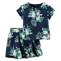 Toddler Girl Carter's Sateen Floral Top & Skirt Set