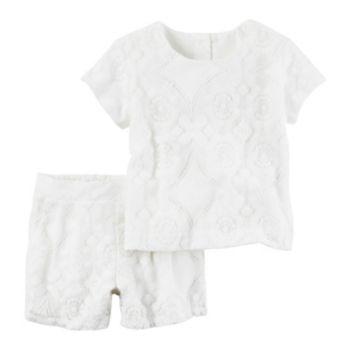 Toddler Girl Carter's Crochet White Top & Shorts Set