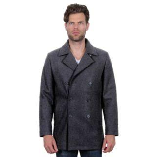 Men's Tahari Elements Double-Breasted Wool-Blend Waterproof Peacoat
