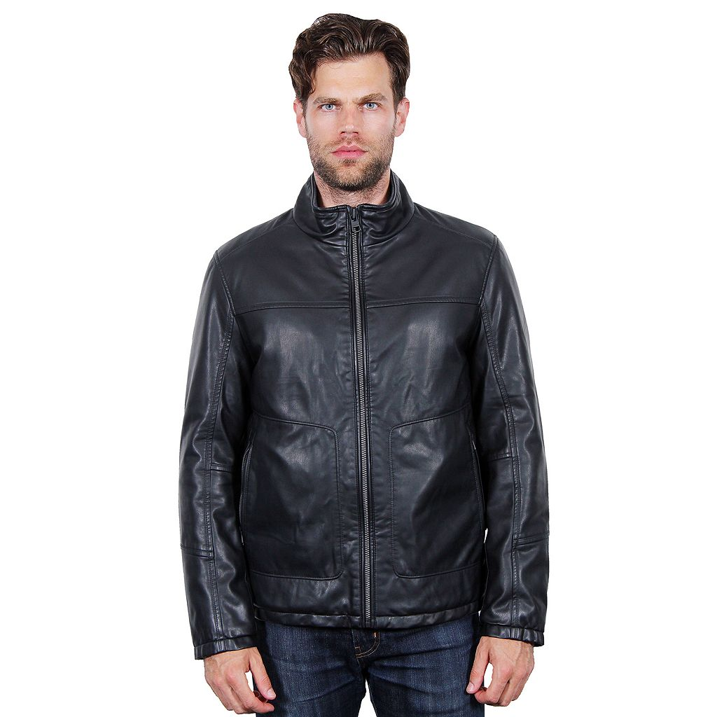 Men's Tahari Elements Faux-Leather Open-Bottom Bomber Jacket