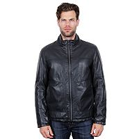 Men's Tahari Elements Faux-Leather Open-Bottom Bomber Jacket