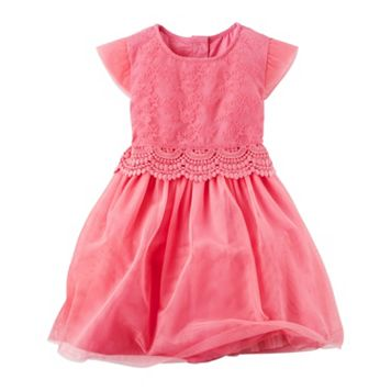 Toddler Girl Carter's Pink Lace Layered Dress