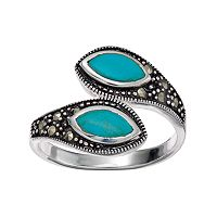 Silver Luxuries Simulated Turquoise Bypass Ring