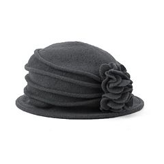 Scala Knit Wool Flower Cloche Hat