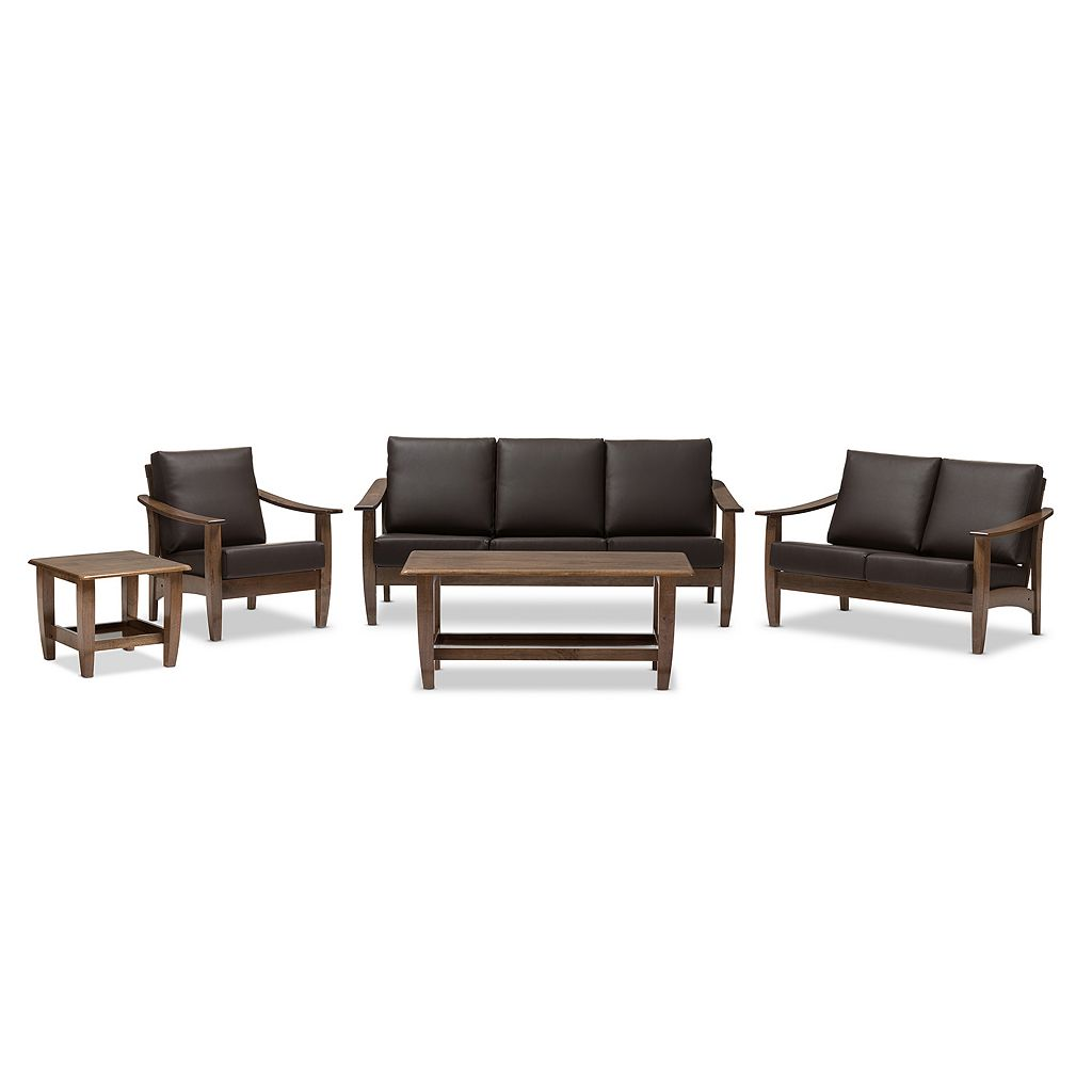 Baxton Studio Pierce Mid-Century Faux-Leather Living Room 5-piece Set