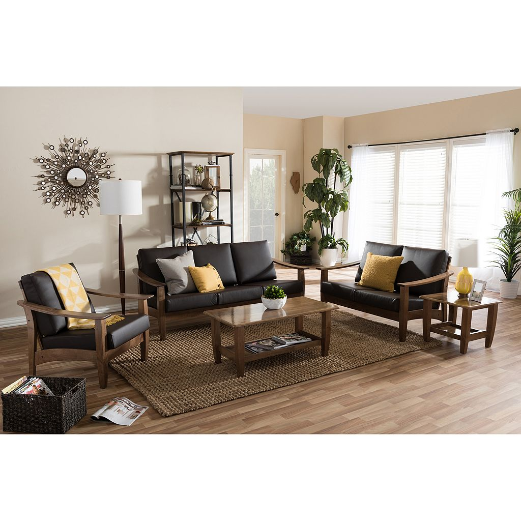 Baxton Studio Pierce Mid-Century Faux-Leather Living Room 5-piece Set