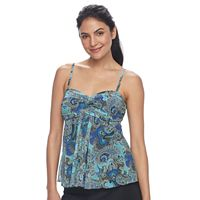 Women's A Shore Fit Tummy Slimmer Mesh Tankini Top