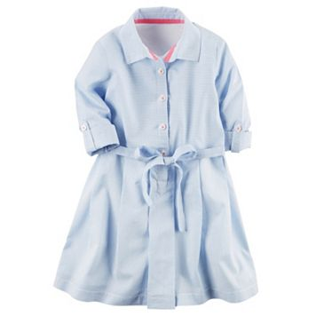 Toddler Girl Carter's Long Sleeve Stripe Poplin Shirt Dress