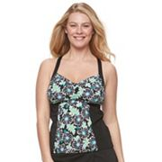 Women's A Shore Fit D-E Cup Floral Tankini Top