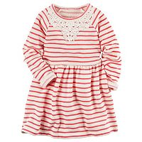 Toddler Girl Carter's French Terry Lace Neck Striped Dress