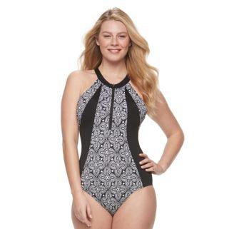 Women's A Shore Fit Hip Minimizer High-Neck One-Piece Swimsuit
