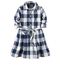 Toddler Girl Carter's Long Sleeve Gingham Plaid Poplin Shirt Dress