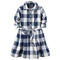 Toddler Girl Carter's Long Sleeve Gingham Plaid Poplin Shirt Dress