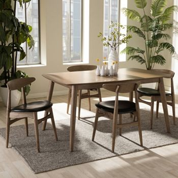 Baxton Studio Edna Mid-Century Modern Dining Table & Chair 5-piece Set