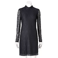 Women's Suite 7 Lace Mockneck Shift Dress