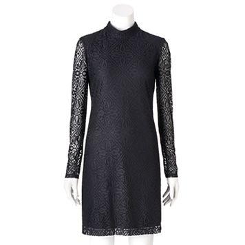 Women's Suite 7 Lace Mockneck Shift Dress