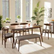 Baxton Studio Flora Dining Table, Chair & Bench 6-piece Set