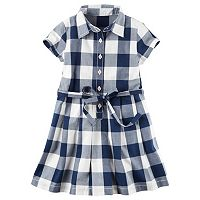 Toddler Girl Carter's Short Sleeve Gingham Plaid Poplin Shirt Dress