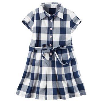 Toddler Girl Carter's Short Sleeve Gingham Plaid Poplin Shirt Dress