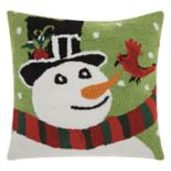 Mina Victory Home for the Holidays Snowman & Cardinal Throw Pillow