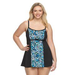 Plus Size A Shore Fit Hip Minimizer Printed Swimdress