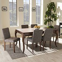 Baxton Studio Mid-Century Modern Dining Table & Chair 7-piece Set