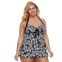 Plus Size A Shore Fit Hip Minimizer Halterkini Top & High-Waisted Swim Bottoms Set
