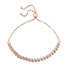 Stella Grace Sterling Silver 1/4 Carat T.W. Diamond S-Link Bolo Bracelet