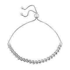 Sterling Silver 1/4 Carat T.W. Diamond S-Link Bolo Bracelet