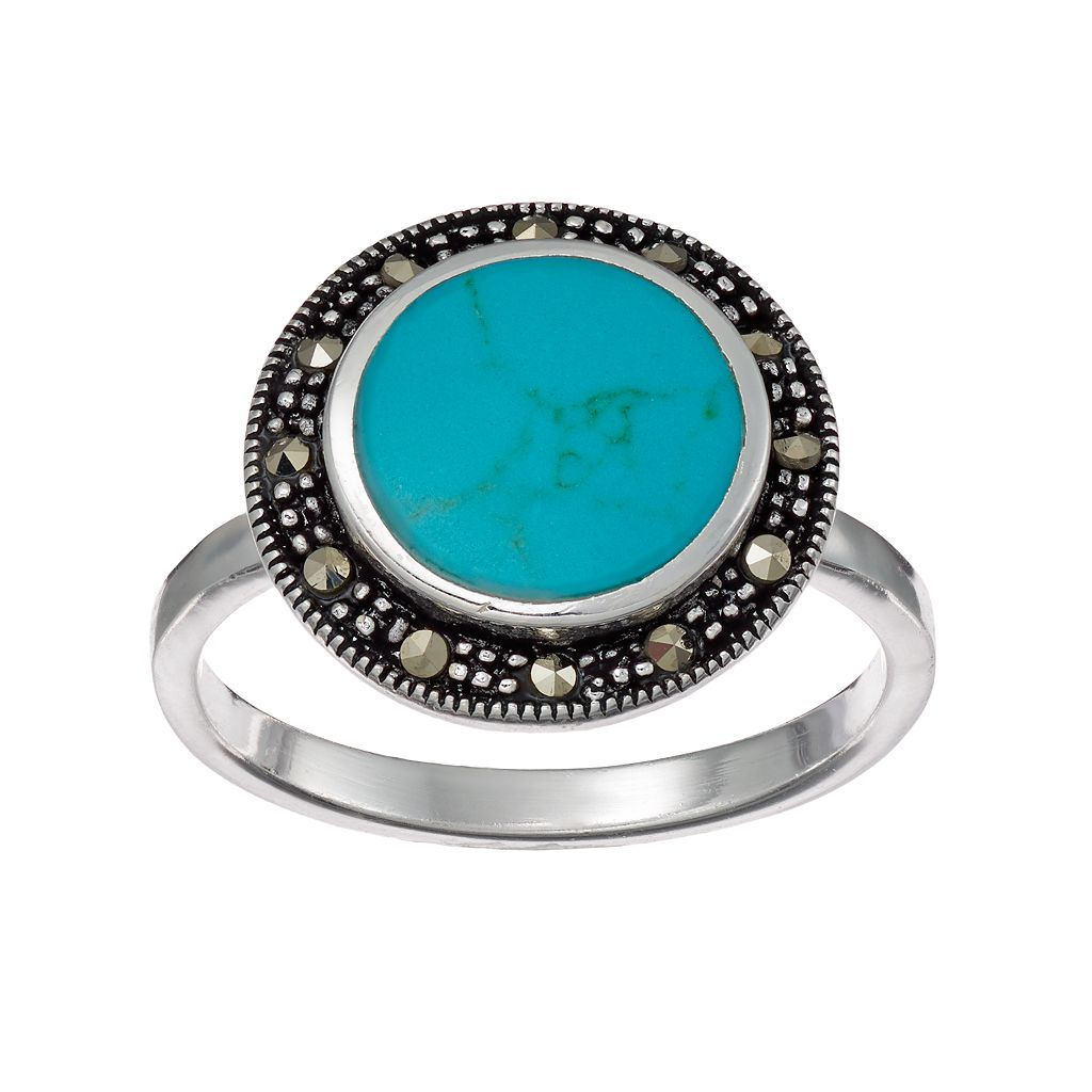 Silver Luxuries Simulated Turquoise Round Halo Ring