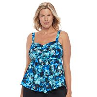 Women's A Shore Fit D-E Cup Mesh V-Hem Tankini Top