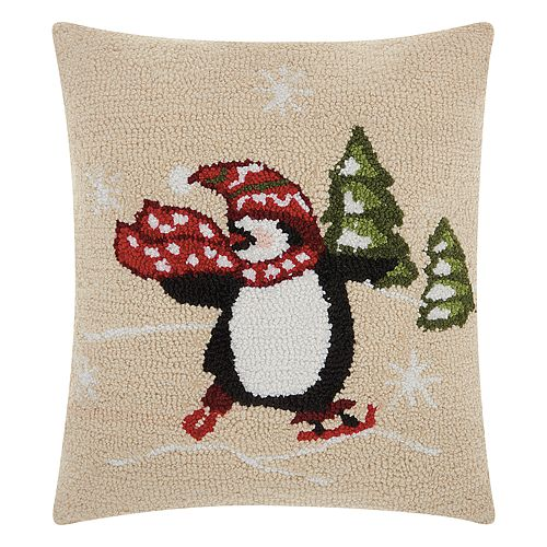 Mina Victory Home for the Holidays Skating Penguin Throw Pillow