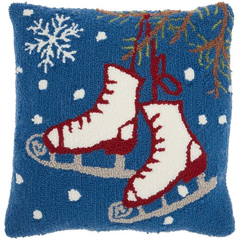 Mina Victory Home for the Holidays Ice Skates Throw Pillow