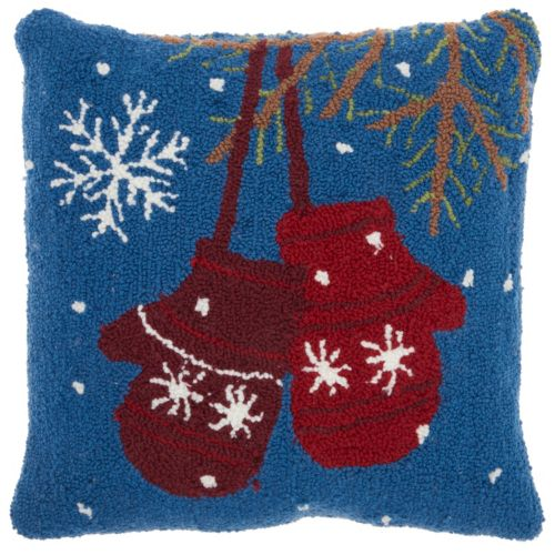 Mina Victory Home for the Holidays Mittens Throw Pillow
