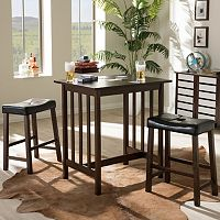 Baxton Studio Nova Wood Kitchen Breakfast Table 3-piece Set