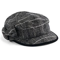 8c8567bed4e12c Women's Betmar Mulhouse Plaid Bow Cadet Hat. Black Plaid