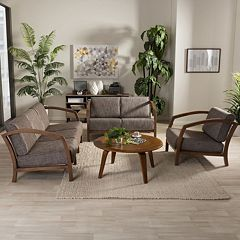 Baxton Studio Velda Sofa, Loveseat & Arm Chair 3-piece Set