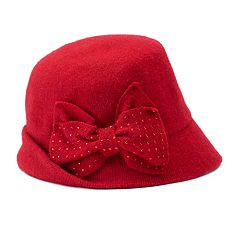 Betmar Betty Rhinestone Bow Cloche Hat