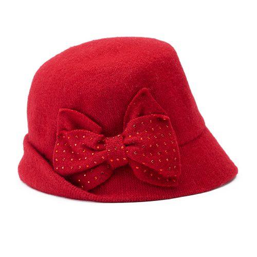 Betmar Betty Rhinestone Bow Cloche Hat