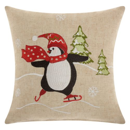 Mina Victory Home for the Holidays Penguin Throw Pillow