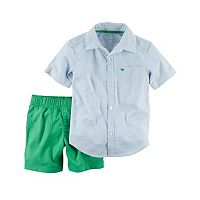 Toddler Boy Carter's Button-Front Shirt & Solid Shorts Set