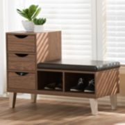 Baxton Studio Arielle 3-Drawer Shoe Storage Padded Leatherette Seating Bench with Two Open Shelves