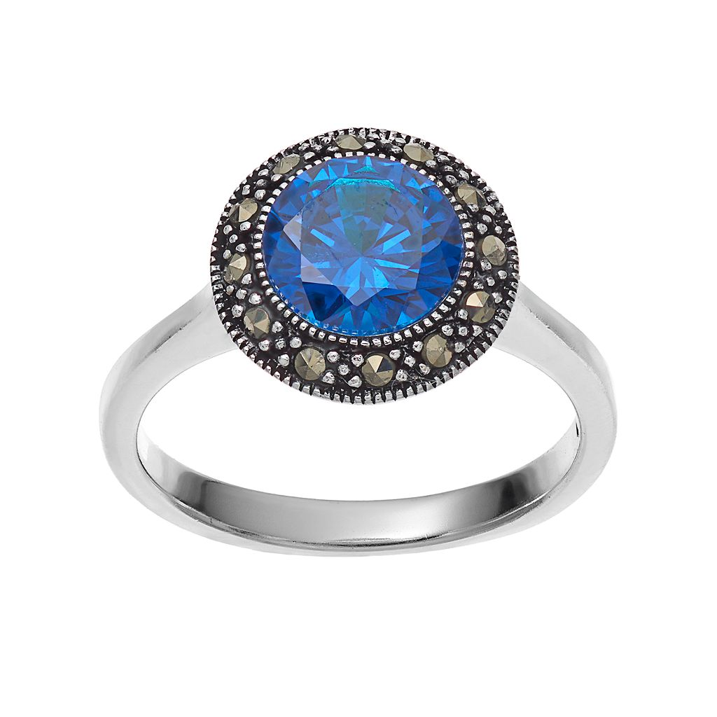 Silver Luxuries Cubic Zirconia Round Halo Ring