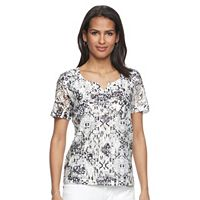 Petite Napa Valley Printed Lace Tee