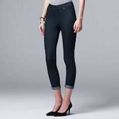 Women's Simply Vera Vera Wang Cuffed Denim Capri Leggings