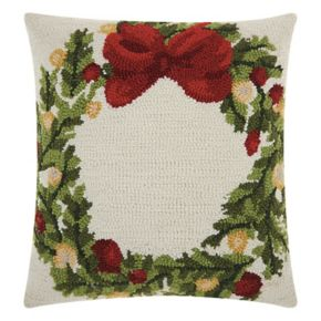 Mina Victory Home for the Holidays Wreath Throw Pillow